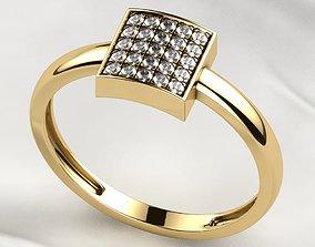 Elegant Pave Setting Gold Ring 3D printable model