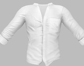 3D model Mens Open Chest Standing Collar White Shirt