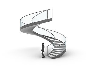 3D Spiral Staircase with Glass and Guardrail 360