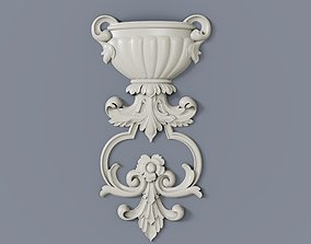 3D printable model Baroque cartouches onlay element 008