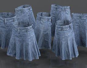 3D asset Plaid Jeans Skirt Long