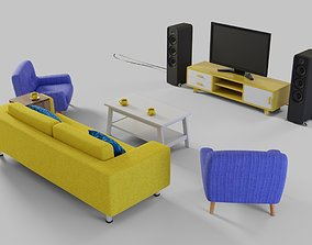 3D asset Cartoon living room