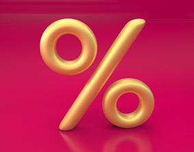 Percent golden sign for web graphics SUBDIVIDE 3D model