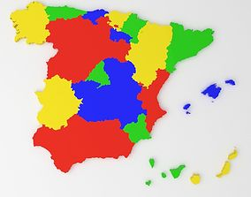 Map of Spain 3D asset