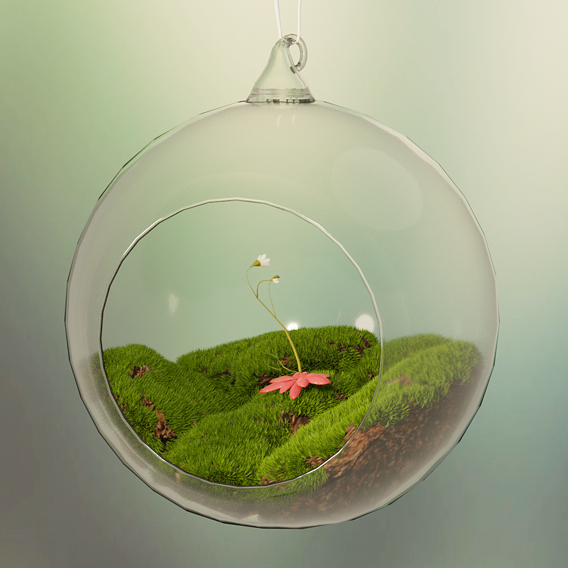 glass ball with moss and flower toy decorate