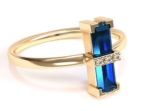 Unique Tourmaline Ring 3D printable model