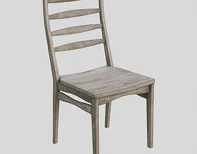 Chair - aged wood 3D asset