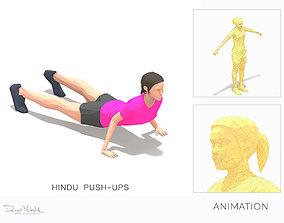hindu push-ups Exercise Woman Animation 3D model
