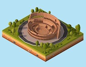 Cartoon Low Poly Rome Coloseum Landmark 3D model