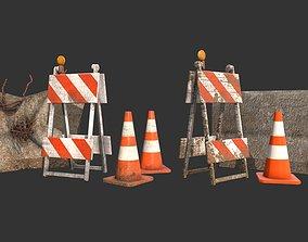 3D asset Barricade Cones Concrete Divider Pack