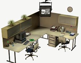 3D asset low-poly Office Set interior