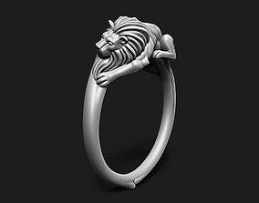3D print model Laying Lion Ring