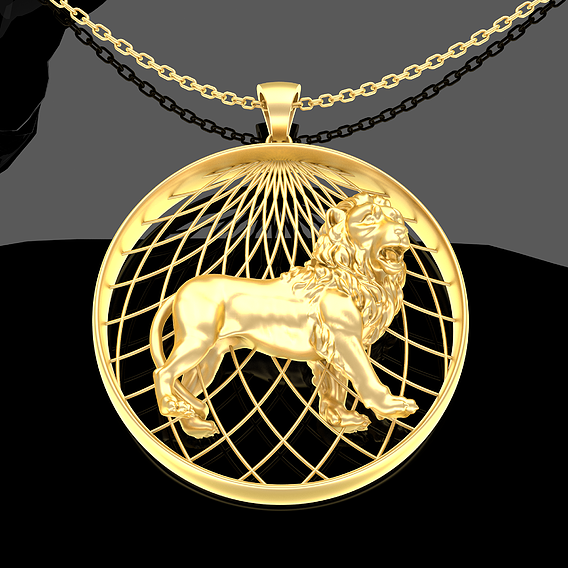 Lion Pendant Jewelry Gold 3D print model