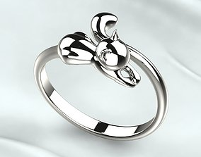 3D print model Cat Silver Open Ring