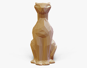 cat Faceted Sitting Cat Figurine 3D printable model
