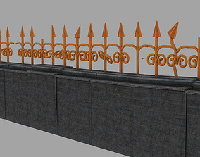 wall with bars or fence street 3D model