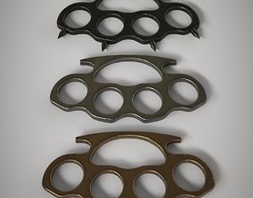 3D asset low-poly Brass Knuckles 3 Pack
