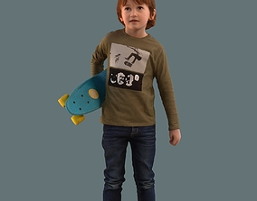 Low poly set of 3D kids and children