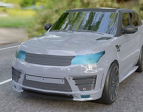 3D asset realtime Land Rover Low Poly SUV