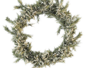 3D PBR Christmas wreath of coniferous branches
