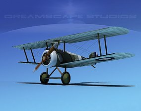 3D model rigged rotary Sopwith Camel
