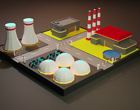 Lowpoly Nuclear Fabrica - Facility 3D asset
