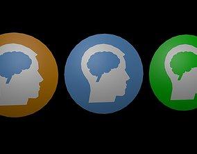 Low poly brain symbol 6 3D asset realtime