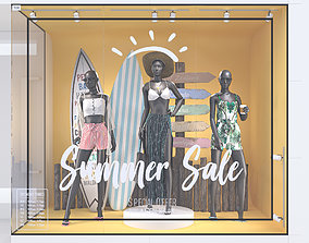 Summer Store Front with female mannequin 3D