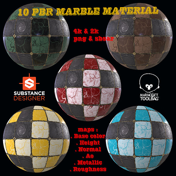 10 PBR MARBLE TILE MATERIAL