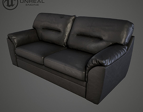 3D model realtime Leather sofa