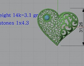 Lighter Pendant 6 Heart pendant Jewelry 3D print model