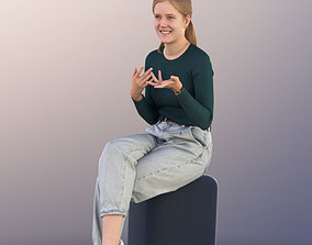 11316 Nele - Girl young sitting talking pretty 3D model 1