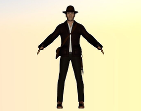 3D model rigged realtime Indiana Jones