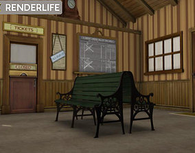 Rural Train station interior 3D model