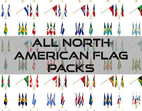 All North American Flag Packs 3D
