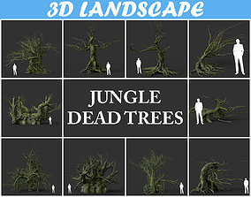 3D asset Low poly Mossy Jungle Dead Tree