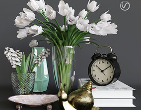 Decorative set with tulips 3D model