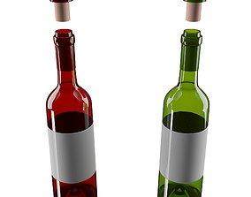 Wine bottles vino 3D model VR / AR ready