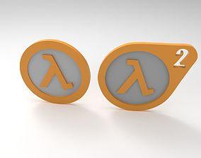 Half Life 1 and 2 logo 3D printable model