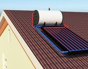 solar heating 3D asset