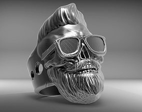 skullring Skull Ring bearded STL 3d model for 3d printer