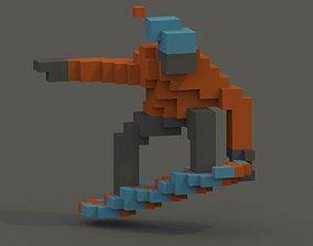 low-poly Snowboarder Voxel Model
