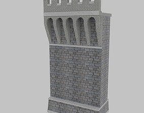 Medieval Wall with Machicolations 3D asset