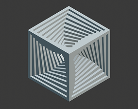 Inner spiral vortex cube 3D print model