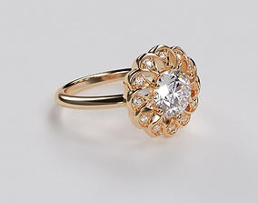 3D printable model beautiful 6mm round diamond flower ring