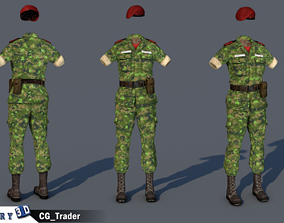 VR / AR ready lowpoly canadian military female costume 3d