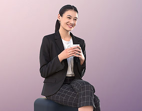 realtime Asian Fashionable Woman Sit Coffee Cafe 3Dhuman 2