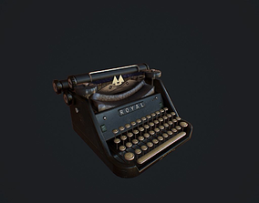 Old Typewriter pbr 3D model game-ready