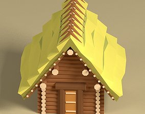 3D model Low Poly Medieval Wood Log House