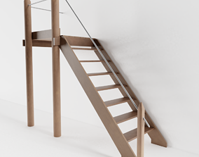 Old Exterior Staircase 3D model low-poly